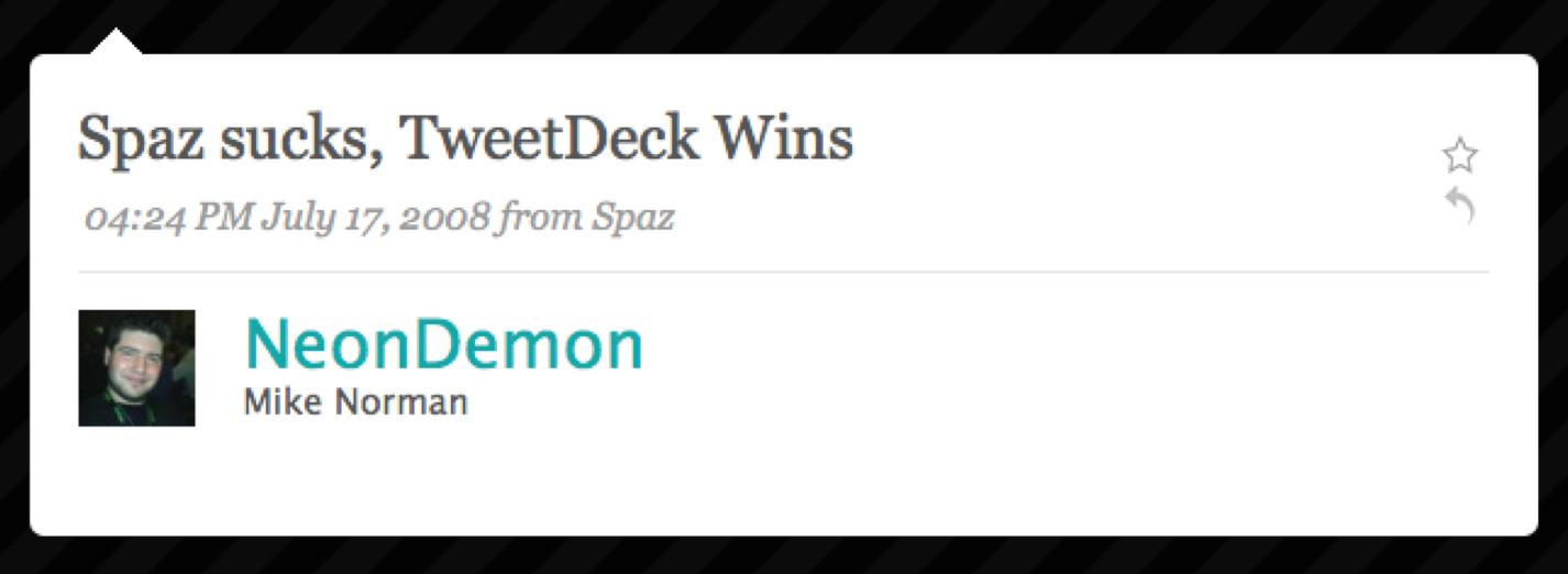 Spaz sucks, Tweetdeck wins